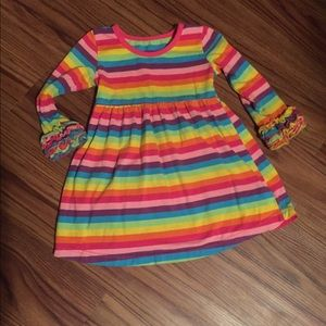 Boutique rainbow long sleeve icing dress Sz 2T